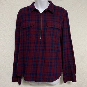 Madewell Size Large Flannel Zip-up Long Sleeve 🌴